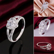 Pretty Silver Plated Crystal Love Heart Ring Bridal Wedding Party