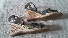 "BNIB ""Toscania"" Ladies Espadrille Style Wedge Sandals With Sequins Size 5/38"