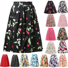 OCCIDENT WOMEN'S Vintage Retro Cotton Full Circle Dance Pinup Skirt High Waist