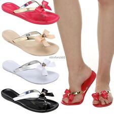 WOMENS LADIES TOE BOW DIAMANTE JELLY SUMMER FLAT FLIP FLOP THONG SANDALS SIZE N4