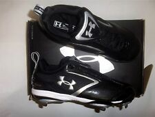 Under Armour UA Metal Bomber Low ST Men's Baseball Cleats NIB Black/Silver