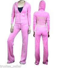 NWT Juicy Couture Pink Plumeria Gold Studded Cities Tracksuits Hoodie Pants