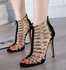 Sexy Women High Heel Zip Hollow Sandals Peep Toe Club Party Prom Shoes