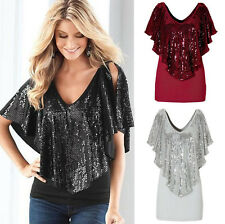 Summer Womens V Neck Loose Sequin T Shirt Blouse Batwing Sleeve Casual Tops