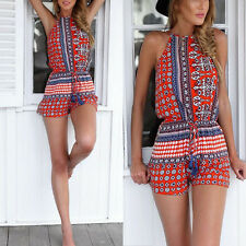 Womens Retro Crew Neck Jumpsuits Playsuit Shorts Backless Sleeveless Rompers S2U