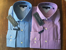 NWT Tommy Hilfiger Dress Shirt Mens 100% Cotton Easy Care Regular Fit Stripe $70