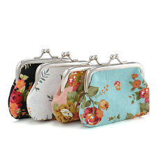 Retro Women Girls Change Coin Purse Floral Hasp Canva Clutch Mini Wallet Pouch