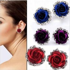 Elegant Lady Rose Flower Crystal Rhinestone Stone Ear Stud Pierced Earrings Hot