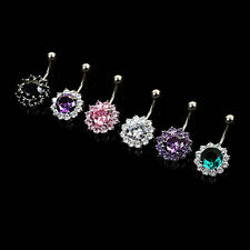 Body Piercing Jewelry Stainless Steel Crystal Flower Navel Belly Ring Button Bar