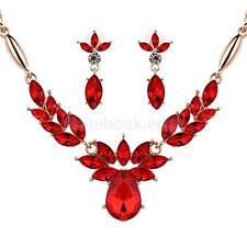 Wedding Bridal Evening Party Jewelry Set Crystal Statement Necklace Earrings
