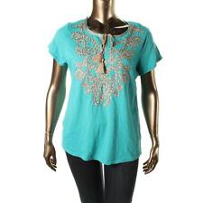 Charter Club 3395 Womens Cotton Embroidered Sequined Casual Top Shirt Plus BHFO