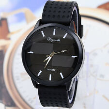 Mens Black Silicone Rubber Band Stainless Steel Sport Quartz Luxury Wrist Watch