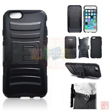 """iPhone 6 4.7""""/Plus 5.5"""" Dual Layer Holster Belt Swivel Clip Stand Hard Back Case"""