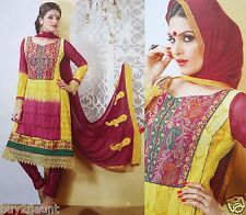Embroidery Floral Unstitch Suit Fabric Yellow Dress Anarkali Salwar Kameez India