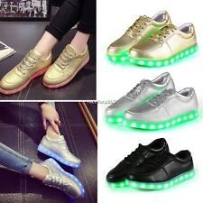Unisex LED Light Lace Up Luminous Shoes Sportswear Trainers Casual Sneaker N4U8