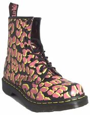 Dr. Martens Womens 1460 Black Pink Yellow Leopard 8 Eye Leather Doc Ankle Boots
