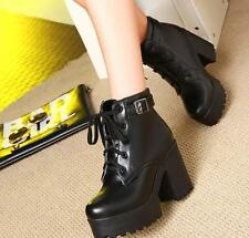 Women chunky heel round toe platform lace-up punk goth creeper ankle boots Size