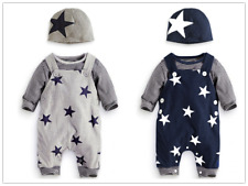 3pcs/Set Toddler Kids Baby Boys Outfits Hat+T-shirt+straps pants Clothes suits