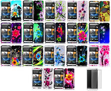 Screen Protector + Design Hard Faceplate Cover Phone Case for HTC One M7 802w