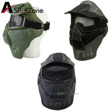 Airsoft Face Guard Mask w/Mesh Goggles&Neck Protect Black/Olive Drab
