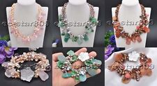 D0250 Set 3row Schistose Agate & Jade Rice Pearl Faceted Crystal Necklace & Brac