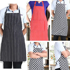 Womens Mens Cooking Chef Kitchen Restaurant Stripe Bib Apron Dress With 2 Pocket