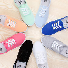 Women's Casual Candy Color Flat Canvas Tennis Soft Solid Sneakers/Deck Shoes