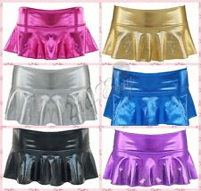 Sexy Women Girl PVC Wet Look  Flared Skater Mini Skirt Faux Leather Night  party