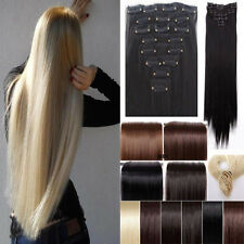UK 8 Piece Full Head Clip In Hair Extension Extensions Real Thick For Human KD