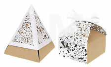 VINTAGE STYLE PYRAMID & SQUARE LACE WEDDING FAVOUR BOXES SWEETS CANDY GIFT BOXES