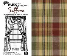 Saffron Panels by Park Designs, Deep Country Plaid, Choose 72x63 or 72x84 Pair