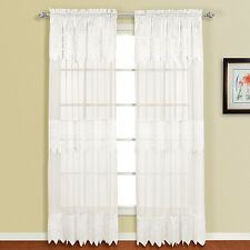 Valerie Macrame and Sheer Voile Curtain Panel Pair with Valances
