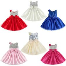 Flower Girls Princess Sequined Dress  Baby Wedding Party Pageant Tutu Dresses