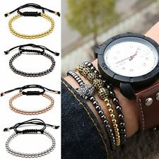 4 Colors Bangle Stone Braiding NEW Beads Macrame Women Men's Adjustable Bracelet