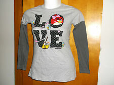 "BRAND NEW LADY'S  ""ANGRY BIRDS""  L/S   GRAY TOP with ANGRY BIRDS DESIGN"