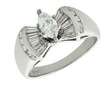 Natural 2.0Ct Diamond Marquise with Baguettes Engagement Ring 10K Gold