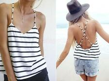 Womens Sexy Sleeveless Vest Casual Summer Loose Tank Tops Striped Shirt Blouse