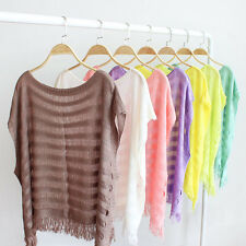Women Lady's Batwing Sleeve Maxi Loose Knitting Tassel Solid Tops Blouse Cape