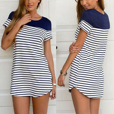 Elegant Womens Cross Stripe Short Sleeve Loose Tops Blouse T-shirt Mini Dress