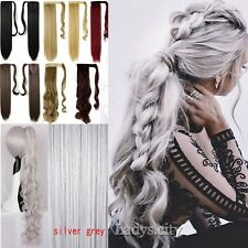UK Seller Long Straight Wavy Ponytail Piece Clip In Pony Tail Hair Extension L6R