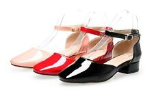 Top Ladies' Ankle Strap Shoes Synthetic Leather Low Cuban Heels Sandals US Size