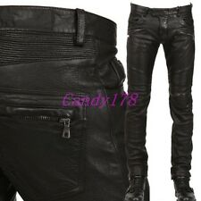 New Mens Punk Rock Mens PU Leather Motorcycle Black Slim Fit Pants Trousers Size