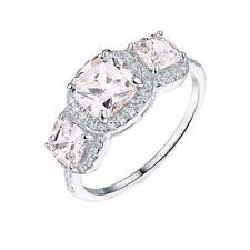 Past Present Future Ring 3 Solitaire CZ Sterling Silver Wedding Engagement Women
