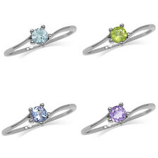 Topaz, Peridot, Tanzanite, Amethyst 925 Sterling Silver White Gold Plated Ring