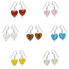 Heart Shape Crystal 925 Sterling Silver Dangle Hook Earrings