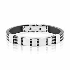 Men's Stainless Steel Double Cable Inlay ID Rubber Bracelet - 7.5 inches (10mm W