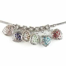 6x Charms Colorful Heart Silvery Alloy European Pendant Beads Fit Bracelets