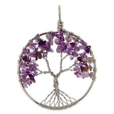Tree of Life Crystal Natural Gemstone Wire Wrap Round Pendant Necklace Jewelry