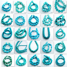 Hot Blue Turquoise Gemstone Spacer Loose Beads Charm Findings 15'' Strand