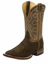 Nocona Western Boots Mens Hippo Print Leather Square Toe Brown MD5201
